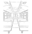 sketch of passenger train interior vector image