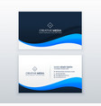 stylish blue wave business card design vector image vector image
