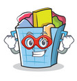 super hero laundry basket character cartoon vector image vector image