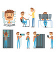 sysadmin network engineer characters set of vector image