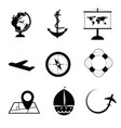 travel icon set in black and white color vector image