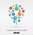 Travel integrated thin line web icons in map pin vector image