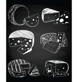Vintage cheese on the chalkboard background vector image vector image