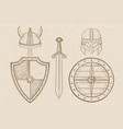 warrior weapons - old medieval shields helmets vector image vector image