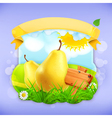 Yellow pear label design vector image