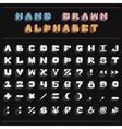 White chalk handwritten alphabet vector image