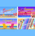 summer beach party with good mood posters set vector image