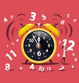 alarm clock with numbers and man flat design vector image vector image
