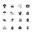 autumn symbols monochrome icons set of vector image