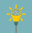 big human brain inside shining lightbulb vector image vector image