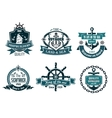 Blue nautical and sailing themed banners or icons vector image vector image