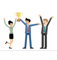 business team holding golden cup trophy success vector image