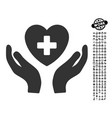 cardiology care hands icon with professional bonus vector image vector image