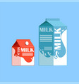 carton boxes of milk fresh and healthy dairy vector image