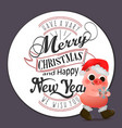 cartoon cute piggy in santa hat greeting card vector image vector image