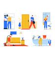 character cleaning house vector image