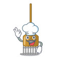 chef cartoon rake leaves with wooden stick vector image vector image