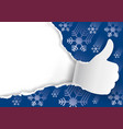 christmas background with torn paper thumbs up vector image vector image