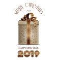 christmas card with gift box for year 2019 vector image vector image