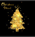 christmas card with tree in gold texture vector image vector image