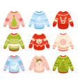 christmas sweaters flat set vector image vector image