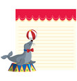circus seal on note template vector image vector image