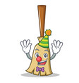 clown broom character cartoon style vector image vector image