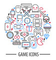 computer game icons in round circle vector image vector image