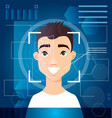 concept biometric scanning man s face digital vector image