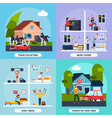 Conflicts With Neighbors Concept Icons Set vector image vector image