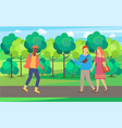 couple walking and roller-skater in park vector image vector image