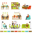 coworking workplace freelancers sharing space and vector image vector image