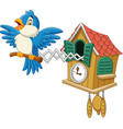 cuckoo clock with blue bird chirping vector image vector image