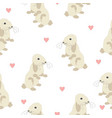 cute seamless pattern with bunny on back feet and vector image vector image