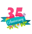 Cute Template 35 Years Anniversary Sign vector image vector image