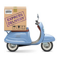 delivery scooter with carton box vector image vector image