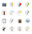 design and drawing tools icons set in flat style vector image