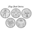 design set with black and white magic seals vector image vector image