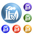 eco factory icons set vector image vector image