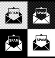 envelope with spam icon isolated on black white vector image vector image