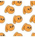 female orange bunny rabbit seamless pattern vector image vector image