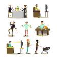 flat icons bad habits people set vector image