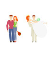 flat young couple newlywed couple set vector image vector image