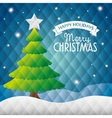 happy holidays merry christmas tree star snow vector image