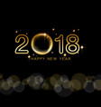 happy new year 2018 text design with golden star vector image
