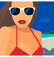 Hello Summer beautiful woman in bikini and vector image