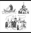 historical scenes of ancient russia vector image vector image
