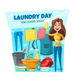 home laundry and washing services housewife vector image