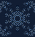 indigo blue star mandala seamless pattern vector image
