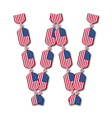 Letter W made of USA flags in form of candies vector image